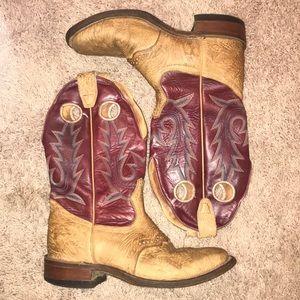 Boulet Women's Square Toe Burgundy & Beige Boots